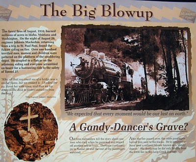 A huge fire burned large parts of Idaho and Montana in 1910, one hundred years ago next month. It was one of the most devastating fires in US history. There are numerous stories of railroad employees who drove engines and box cars filled with people through the flames to the safety of the longer tunnels. Reportedly over 600 lives were saved in this manner.