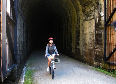 Whew! I made it! There are 10 tunnels along the 15-mile long trail, but none are even close to this one in length.