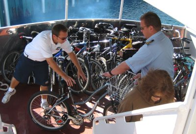 The crew loads all the bikes very efficiently.