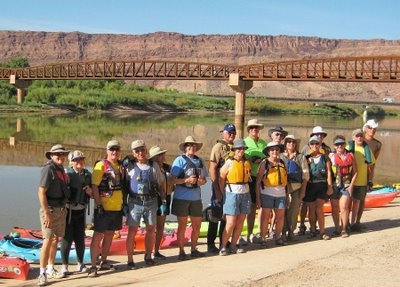 One day a lot of the group went kayaking on the Colorado. They paddled from about 10 miles upstream to our group campground.