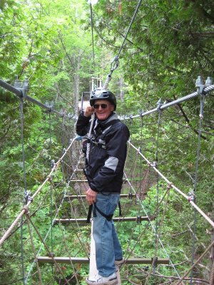 Next we crossed the Forest Canopy Bridge. Although it wasn't exactly in the canopy of the forest, it was up pretty high as it crossed Mill Creek from bluff to bluff. Here's Ron, still smiling.