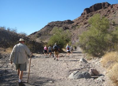 Now on to the WIN Triathlon - hiking, biking, and kayaking. First up was the hike in SARA Park on the south end of Lake Havasu City. It begins as an easy walk down a wash. . .