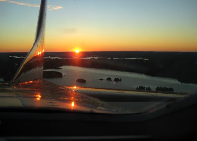 We were up for over an hour and the sun was setting when we landing. I snapped this out the rear window.