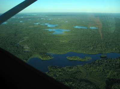 After a really long take off (we were glad it was a really big lake), our pilot Bud took us up to 4000 feet to fly over the wilderness area. All you can see for miles are lakes and trees. It's an amazing sight.