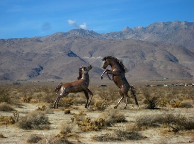 New to Borrego Springs this year is a series of metal sculptures of prehistoric animals that were native to the area.